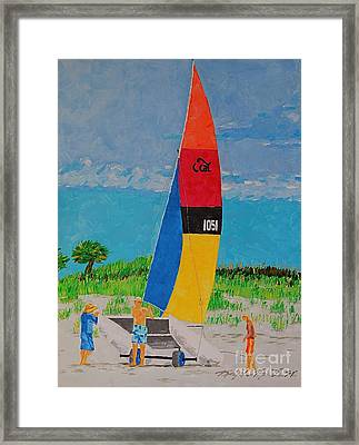Sail Preparation Framed Print