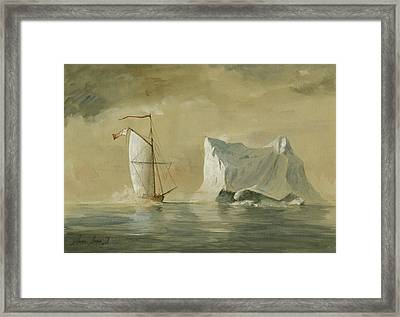 Sail Ship At The Ice Framed Print by Juan Bosco