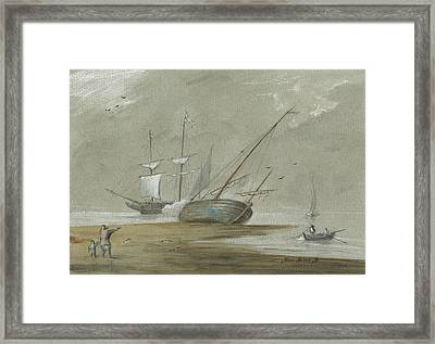 Sail Ships And Fishing Boats Framed Print by Juan Bosco