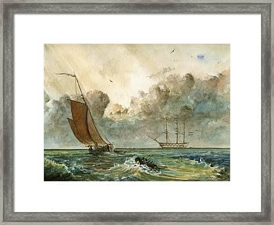 Sail Ships Framed Print by Juan  Bosco