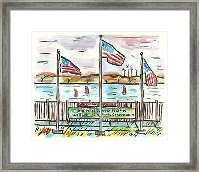 Sailboard Beach Framed Print by Matt Gaudian