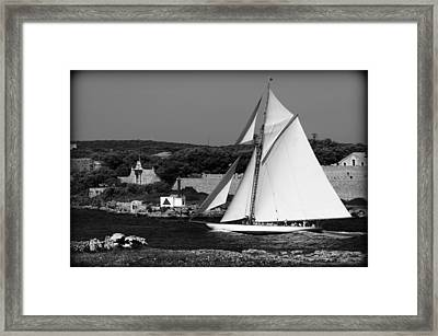 sailboat - a one mast classical vessel sailing in one of the most beautiful harbours Port Mahon Framed Print