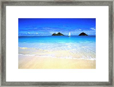 Sailboat And Islands Framed Print