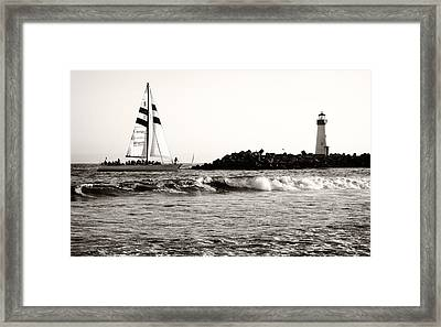 Sailboat And Lighthouse 2 Framed Print by Marilyn Hunt