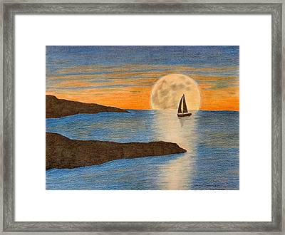 sailboat and Moon Framed Print by Karrie Zenz