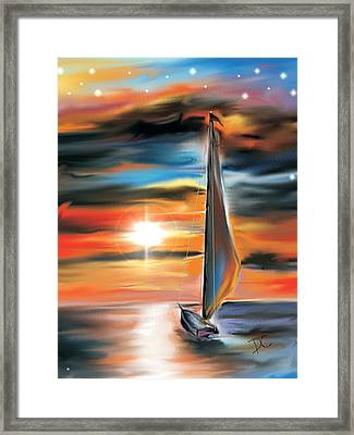 Sailboat And Sunset Framed Print