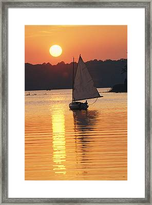 Sailboat And Sunset, South River Framed Print by Skip Brown