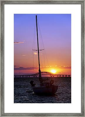Sailboat And The Bridge At Sunrise Framed Print by Vicki Jauron