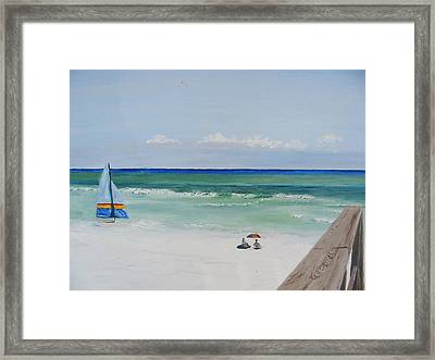 Sailboat At Blue Mountain Beach Framed Print by John Terry