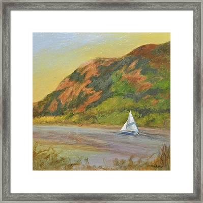 Sailboat At Breakneck Ridge Framed Print