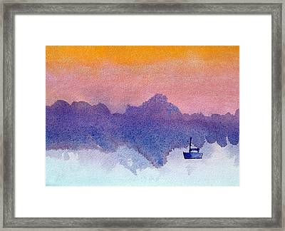 Sailboat At Dawn Framed Print