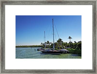 Framed Print featuring the photograph Sailboat At Royal Harbor by Lars Lentz