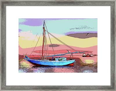 Sailboat At Sunrise Framed Print