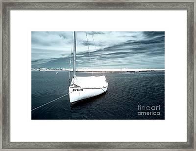 Sailboat Blue Infrared Framed Print