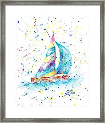 Sailboat By Jan Marvin Framed Print