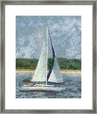 Sailboat Catch The Breeze Framed Print by Nada Frazier