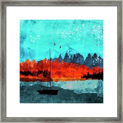 Sailboat Daybreak Lake Framed Print