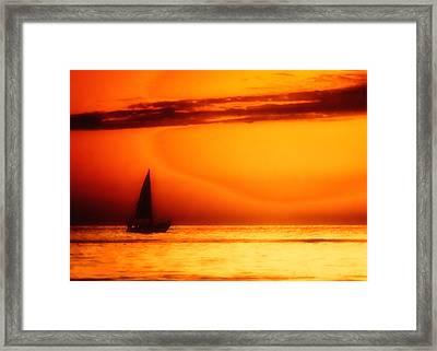 Sailboat In Orange Framed Print by Lyle  Huisken