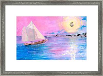 Sailboat In Pink Moonlight  Framed Print by Robin Maria Pedrero