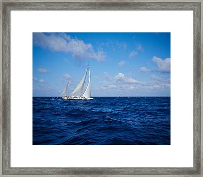 Sailboat In The Sea, Bahamas Framed Print