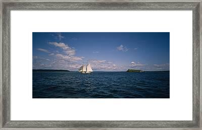 Sailboat In The Sea, St. Maarten Framed Print
