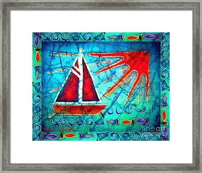 Sailboat In The Sun Framed Print by Sue Duda