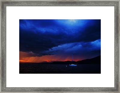Framed Print featuring the photograph Sailboat In Thunderstorm by Sean Sarsfield