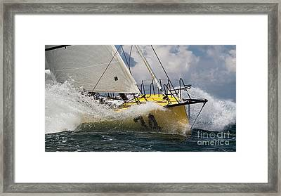 Sailboat Le Pingouin Open 60 Charging  Framed Print by Dustin K Ryan