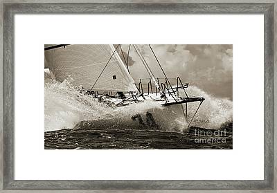 Sailboat Le Pingouin Open 60 Sepia Framed Print by Dustin K Ryan