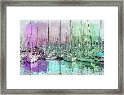 Sailboat Lineup - Watercolor Framed Print by Ericamaxine Price