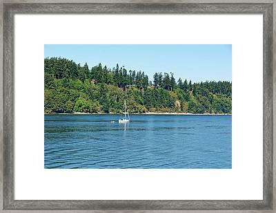 Sailboat Near San Juan Islands Framed Print
