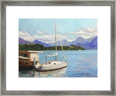 Sailboat On Lake Lucerne Switzerland Framed Print by Anna Rose Bain