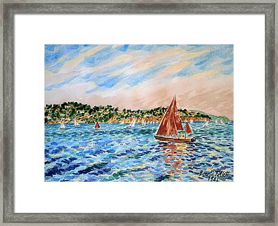 Sailboat On The Bay Framed Print