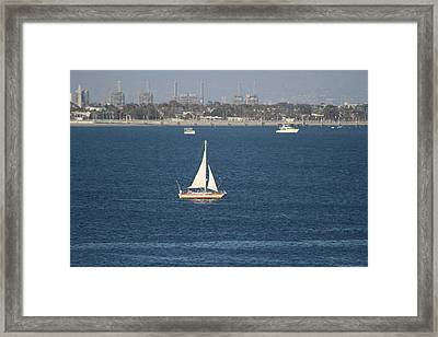 Sailboat On The Pacific In Long Beach Framed Print