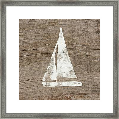 Sailboat On Wood- Art By Linda Woods Framed Print