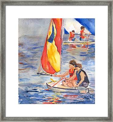 Sailboat Painting In Watercolor Framed Print by Maria's Watercolor