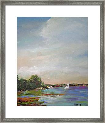 Sailboat Painting Meet You There Framed Print by Karen Fields
