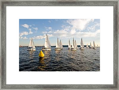 Sailboat Racers Framed Print by Tom Dowd
