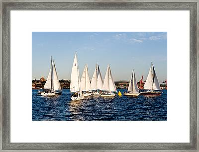 Sailboat Racing Framed Print by Tom Dowd