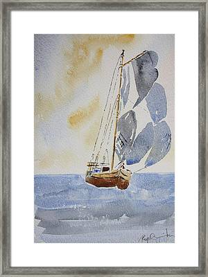 Sailboat Framed Print by Roger Cummiskey