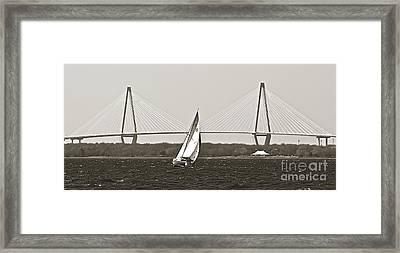 Sailboat Sailing Cooper River Bridge Charleston Sc Framed Print by Dustin K Ryan