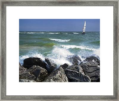 Sailboat Sailing Off The Shore At Ottawa Beach State Park Framed Print