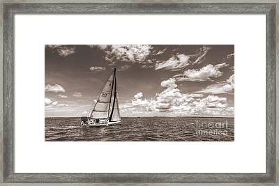 Sailboat Sailing On The Charleston Harbor Sepia Beneteau 40.7 Framed Print by Dustin K Ryan