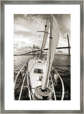 Sailboat Sailing Past Arthur Ravenel Jr Bridge Charleston Sc Framed Print