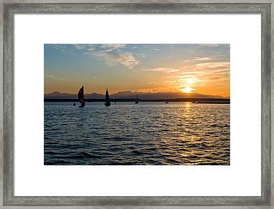Sailboat Sillohette Sunset Framed Print by Tom Dowd