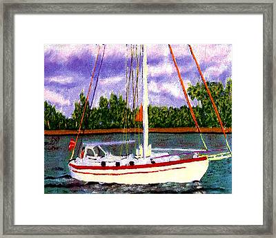 Sailboat Framed Print by Stan Hamilton