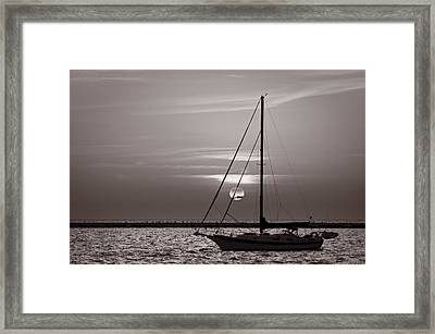 Sailboat Sunrise In B And W Framed Print by Steve Gadomski