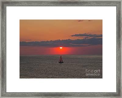 Sailboat Sunset Framed Print