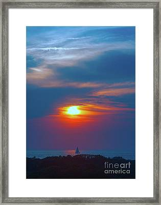 Sailboat Sunset Framed Print