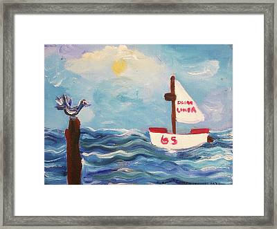 Sailboat Framed Print by Suzanne  Marie Leclair